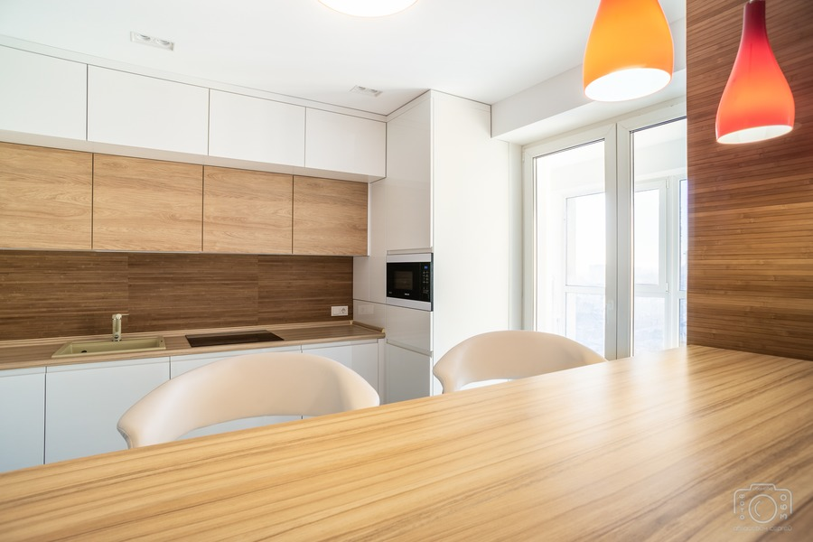 Белый кухонный гарнитур-Кухня МДФ в эмали «Модель 5»-фото4