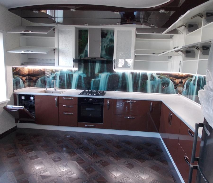 Белый кухонный гарнитур-Кухня из шпона «Модель 14»-фото2