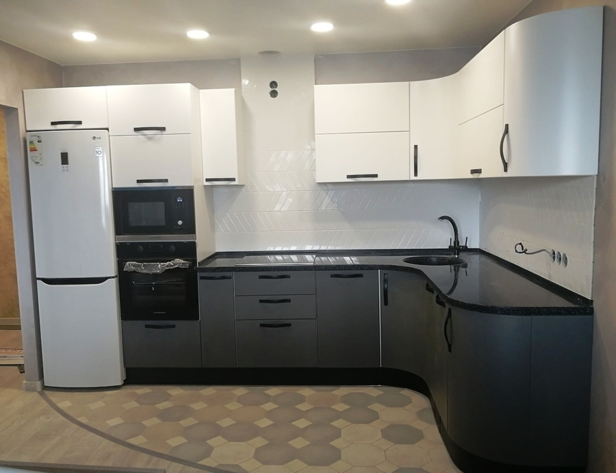 Белый кухонный гарнитур-Кухня МДФ в ПВХ «Модель 29»-фото2