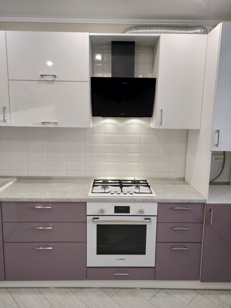 Белый кухонный гарнитур-Кухня МДФ в ПВХ «Модель 544»-фото5