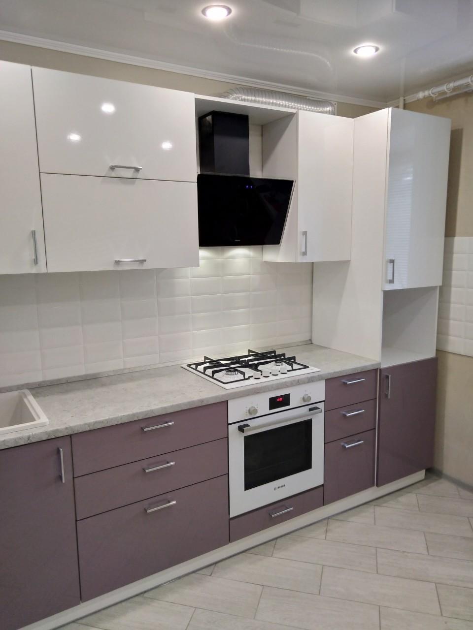 Белый кухонный гарнитур-Кухня МДФ в ПВХ «Модель 544»-фото2