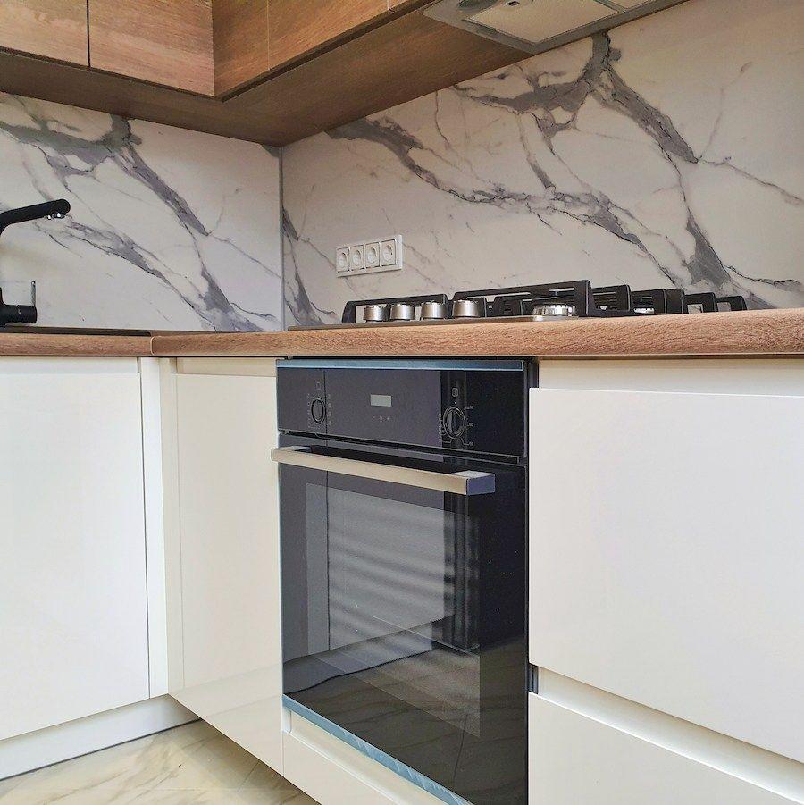 Белый кухонный гарнитур-Кухня МДФ в эмали «Модель 554»-фото4