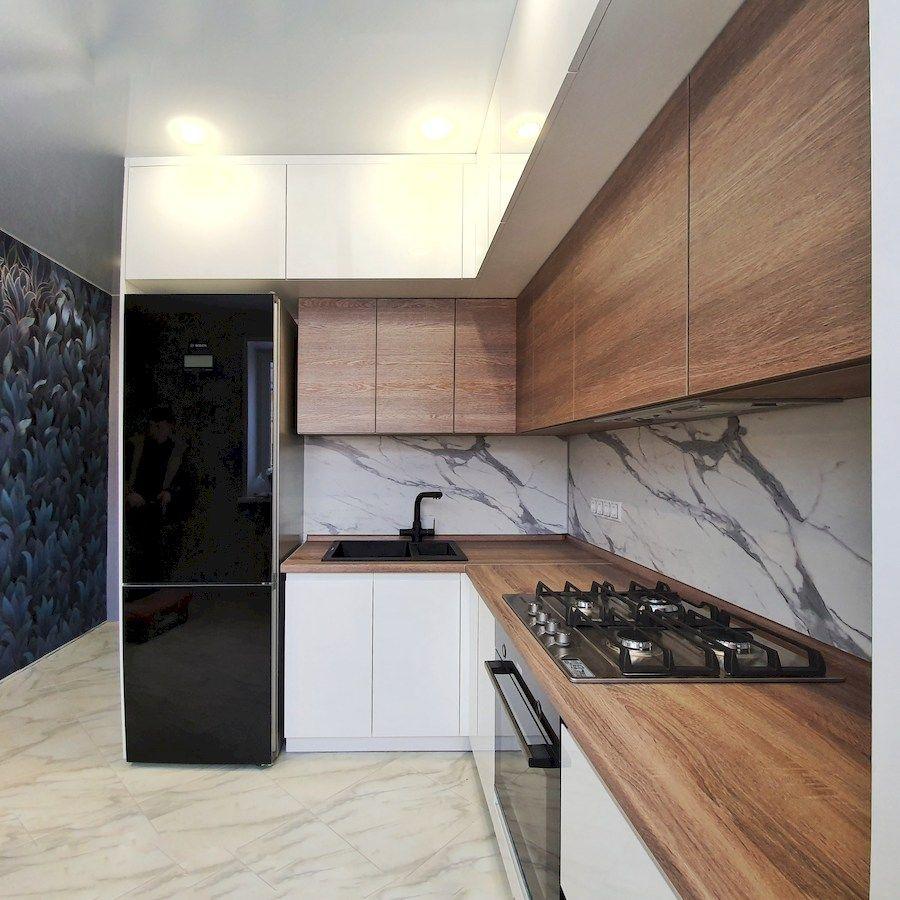 Белый кухонный гарнитур-Кухня МДФ в эмали «Модель 554»-фото2
