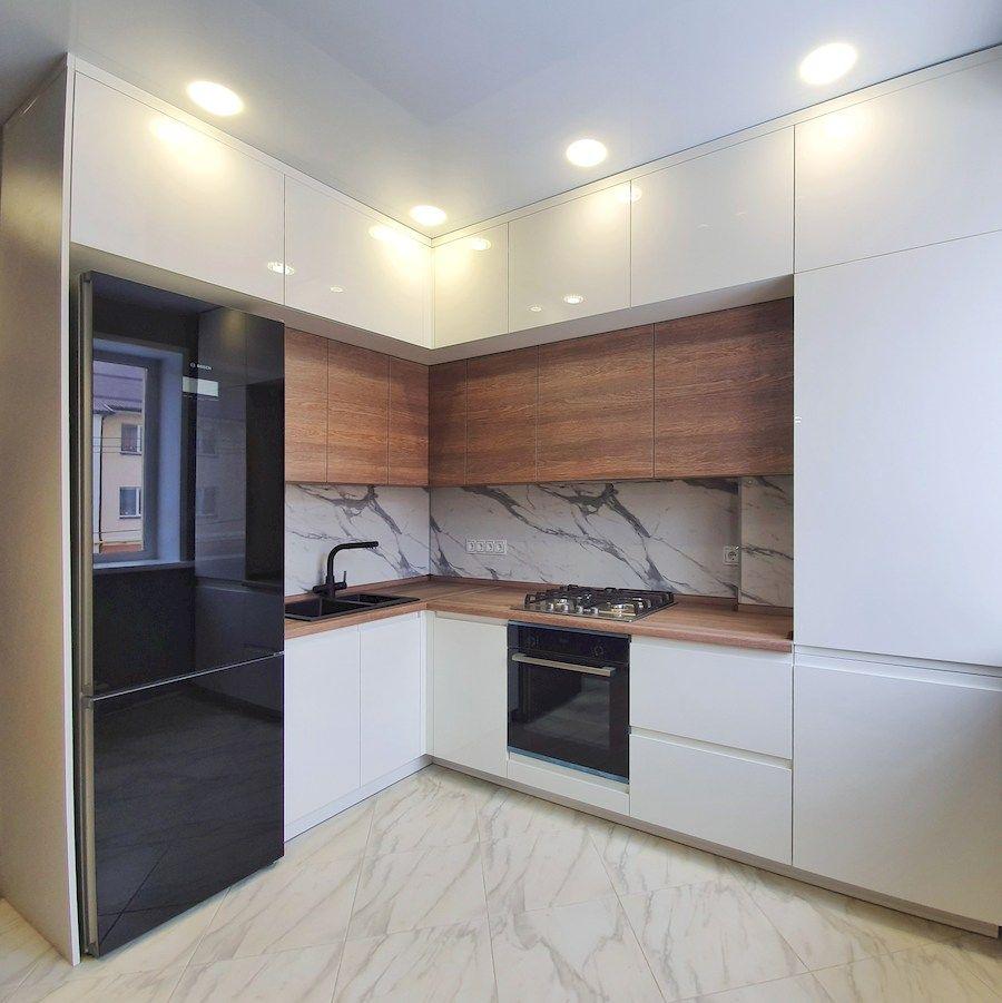 Белый кухонный гарнитур-Кухня МДФ в эмали «Модель 554»-фото1