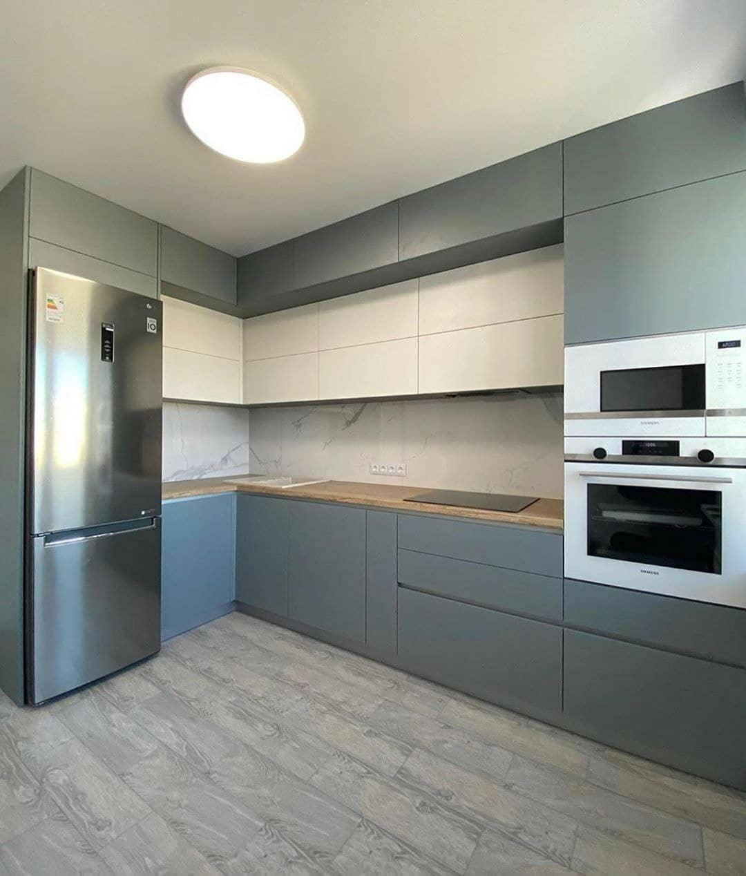 Высокие кухни под потолок-Кухня МДФ в эмали «Модель 632»-фото1
