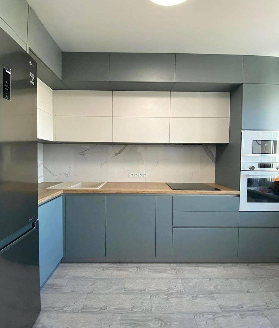 Высокие кухни под потолок-Кухня МДФ в эмали «Модель 632»-фото2