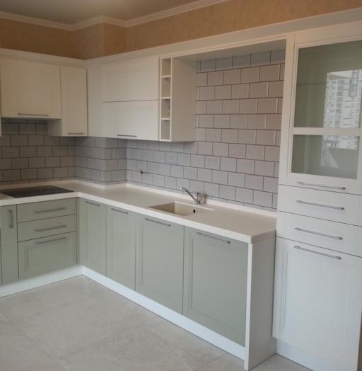 Бежевые кухни-Кухня МДФ в эмали «Модель 277»-фото4