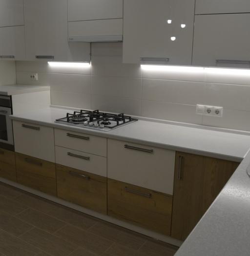 Белый кухонный гарнитур-Кухня из пластика «Модель 459»-фото5