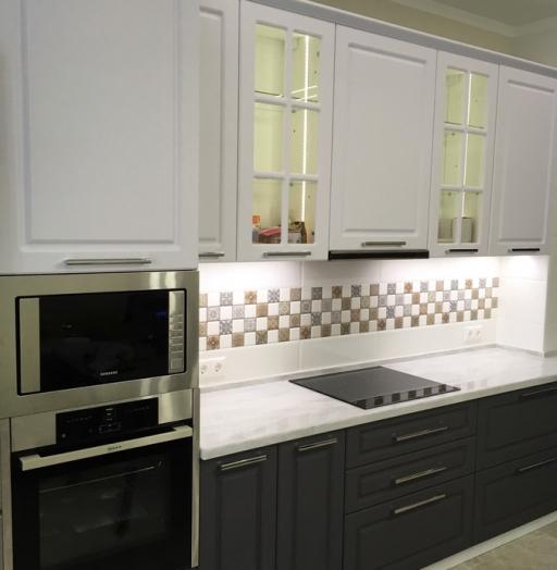Белый кухонный гарнитур-Кухня МДФ в пленке ПВХ «Модель 505»-фото3