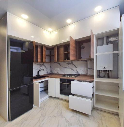 Белый кухонный гарнитур-Кухня МДФ в эмали «Модель 554»-фото8
