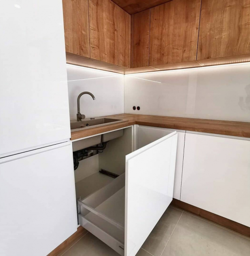 Белый кухонный гарнитур-Кухня МДФ в эмали «Модель 631»-фото6